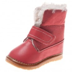 Little Blue Lamb - Squeaky Leather Toddler Girls Shoes | Pink filled winter boots