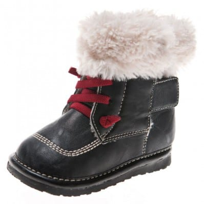 Little Blue Lamb - Squeaky Leather Toddler boys Shoes | Black winter bootees with red laces