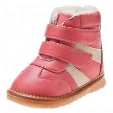 Little Blue Lamb - Squeaky Leather Toddler Girls Shoes | Pink and white bootees