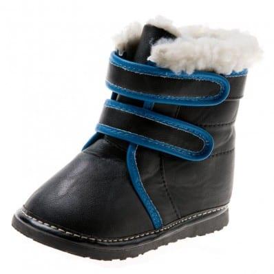 Little Blue Lamb - Zapatos de cuero chirriantes - squeaky shoes niños | Botines negros y azul