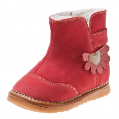 Little Blue Lamb -  Squeaky Leather Toddler Girls Shoes | Red velvet bootees
