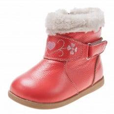 Little Blue Lamb - Zapatos de suela de goma blanda niñas | Botines invierno asalmonado