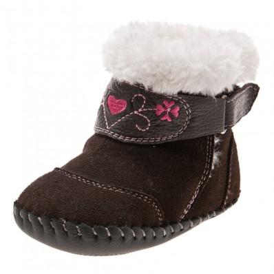 Little Blue Lamb - Zapatos de bebe primeros pasos de cuero niñas | Botines marrones terciopelo