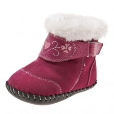 Little Blue Lamb - Baby girls first steps soft leather shoes | Pink velvet bootees