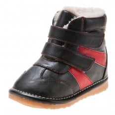 Little Blue Lamb - Squeaky Leather Toddler boys Shoes | Black with red strip bootees