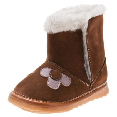 Little Blue Lamb - Squeaky Leather Toddler boys Shoes | Brown boots