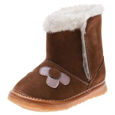 Little Blue Lamb - Zapatos de cuero chirriantes - squeaky shoes niñas | Botas marrones