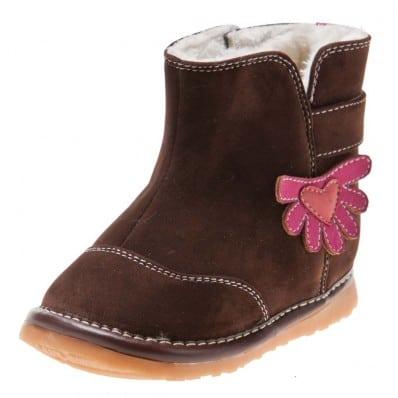 Little Blue Lamb - Zapatos de cuero chirriantes - squeaky shoes niñas | Botas marrones de flores de color rosa