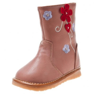 Little Blue Lamb - Zapatos de cuero chirriantes - squeaky shoes niñas | Botas de color rosa flor roja
