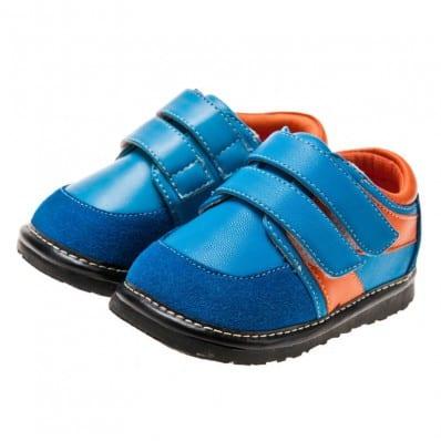 Little Blue Lamb - Zapatos de cuero chirriantes - squeaky shoes niños   Zapatillas de deporte azules y anaranjadas