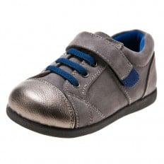 Little Blue Lamb - Zapatos de suela de goma blanda niños   Zapatillas de deporte grises y plateado