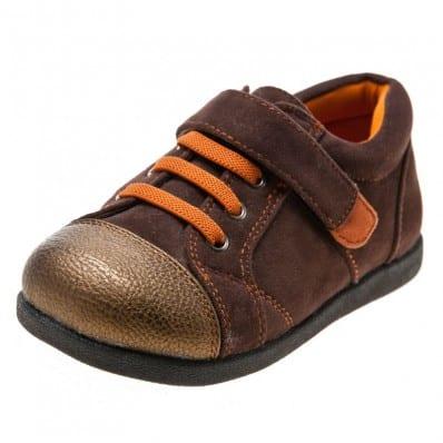 Little Blue Lamb - Zapatos de suela de goma blanda niños | Zapatillas de deporte marrones y anaranjadas