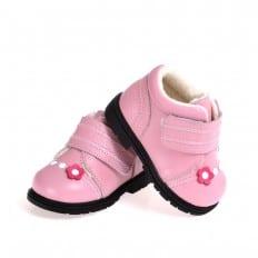 CAROCH - Zapatos de suela de goma blanda niñas | Montantes forradas rosa flor fushia
