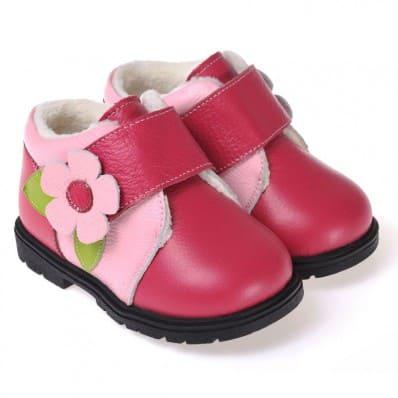 CAROCH - Chaussures semelle souple ultra résistante | Montantes fourrées rose grosse fleur