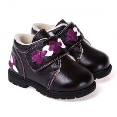 CAROCH - Zapatos de suela de goma blanda niñas | Montantes forradas negra