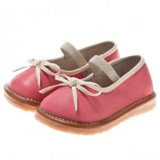 Little Blue Lamb - Squeaky Leather Toddler Girls Shoes    White ballerina