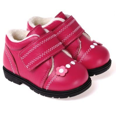 CAROCH - Soft sole girls kids baby shoes | Fushia with pink flower filled booties