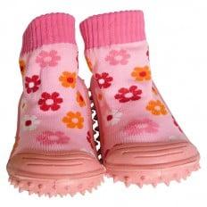 Hausschuhe - Socken Baby Kind geschmeidige Schuhsohle Mädchen | Kleine Blumen Rose