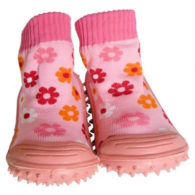 Baby girls Socks shoes with grippy rubber | Small pink flower
