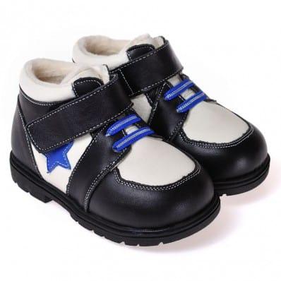 CAROCH - Zapatos de suela de goma blanda niños   Montantes negra estrella azul