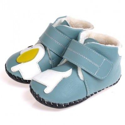 CAROCH - Chaussures premiers pas cuir souple   Montantes fourrées bleu