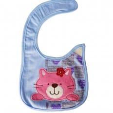 Bavoir bébé fille brodé en coton | Chat rose