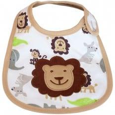 Bavoir bébé garçon brodé en coton | Lion