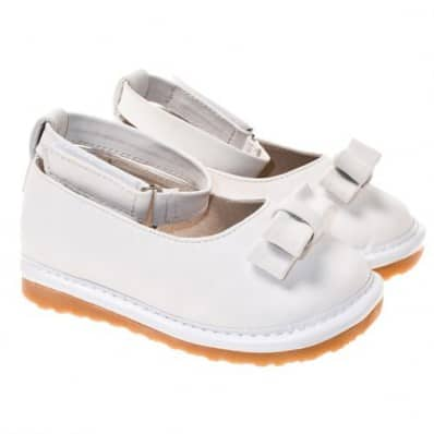 Little Blue Lamb - Squeaky Leather Toddler Girls Shoes | White ballerina ceremony