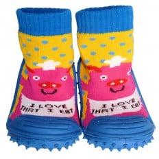 Chaussons-chaussettes bébé antidérapants semelle souple | Cochon cuisto rose