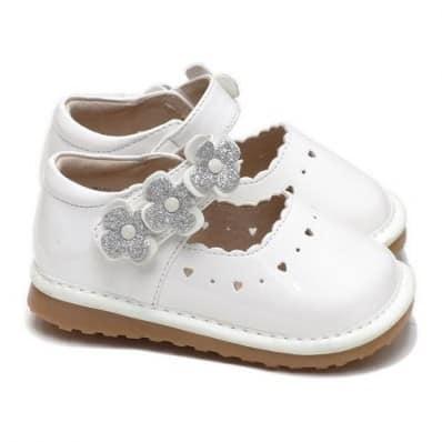 Little Blue Lamb - Zapatos de cuero chirriantes - squeaky shoes niñas | Blanco flor Dinero ceremonia