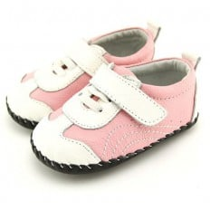 FREYCOO - Baby girls first steps soft leather shoes | Pink and white sneakers