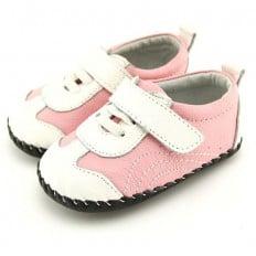 FREYCOO - Zapatos de bebe primeros pasos de cuero niñas | Zapatillas de deporte rosas y blanca