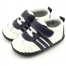 FREYCOO - Baby boys first steps soft leather shoes | White with black strips sneakers
