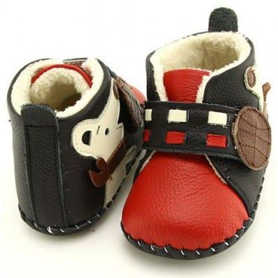FREYCOO - Chaussures premiers pas cuir souple | Montantes fourrées rouge petit chien