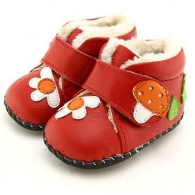 FREYCOO - Baby girls first steps soft leather shoes | Red filled bootees with a mushroom