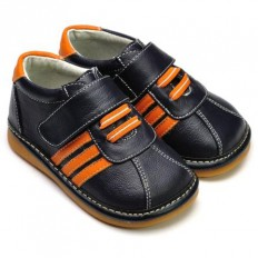 FREYCOO - Squeaky Leather Toddler boys Shoes | Black sneakers orange laces
