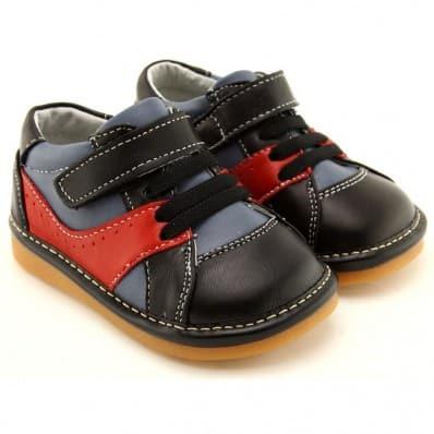 FREYCOO - Scarpine bimba primi passi con fischietto | Nero e rosso sneakers