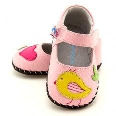 FREYCOO - Chaussures premiers pas cuir souple | Babies rose piou-piou