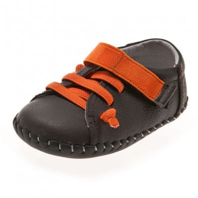 Little Blue Lamb - Chaussures premiers pas bébé en cuir souple   Baskets marron lacets orange