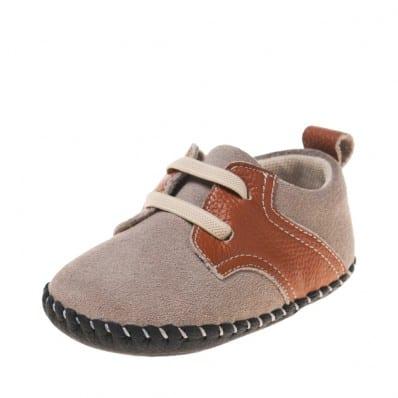 Little Blue Lamb - Zapatos de bebe primeros pasos de cuero niños | Zapatillas de deporte grises y marrones
