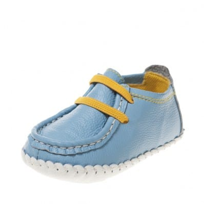 Little Blue Lamb - Chaussures premiers pas bébé en cuir souple | Bateaux bleu