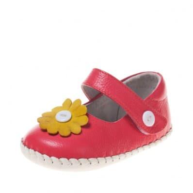 Little Blue Lamb - Chaussures 1er pas cuir souple | Babies rose foncé