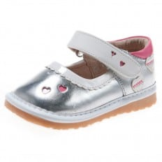 Little Blue Lamb - Squeaky Leather Toddler Girls Shoes   Silver babies