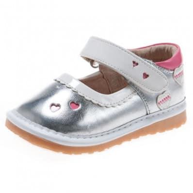 Little Blue Lamb - Zapatos de cuero chirriantes - squeaky shoes niñas | Plata