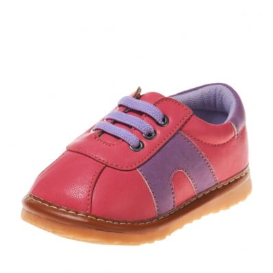 Little Blue Lamb - Squeaky Leather Toddler Girls Shoes | Hot pink and blue sneakers
