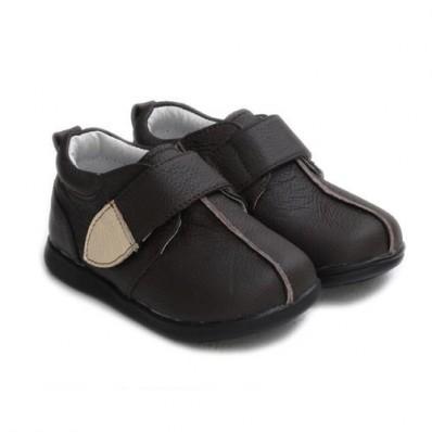 Little Blue Lamb - Chaussures semelle souple | Beige marron cérémonie