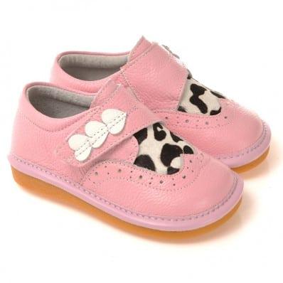 CAROCH - Krabbelschuhe Babyschuhe squeaky Leder - Mädchen   Pink babies 3 herzen kuh