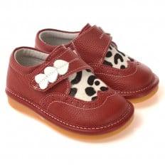 CAROCH - Krabbelschuhe Babyschuhe squeaky Leder - Mädchen | Rot babies 3 herzen kuh