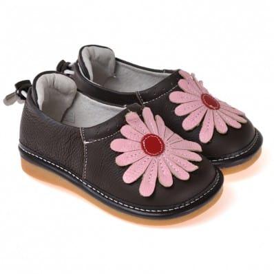 CAROCH - Zapatos de cuero chirriantes - squeaky shoes niñas | Negro flor rosa