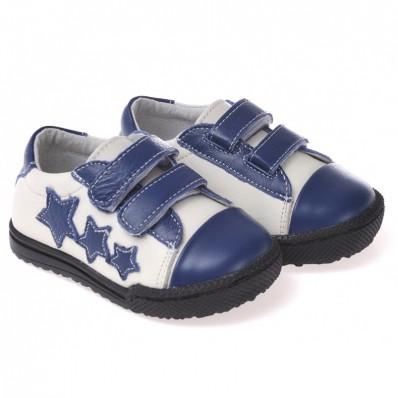 CAROCH - Krabbelschuhe Babyschuhe Leder - Jungen | Weiß 3 Sterne sneakers
